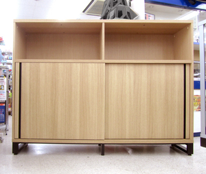 組立済未使用 メティオ 木製キャビネット 書庫 3段 オープン+2段スライドドア 幅1600×奥行398mm オフィスコム本棚 METIO 大型 札幌市