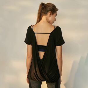 おしゃれ!かわいい♪バックドレープ半袖Tシャツ♪黒 カットソー バックオープン ヨガ ヨガウェア
