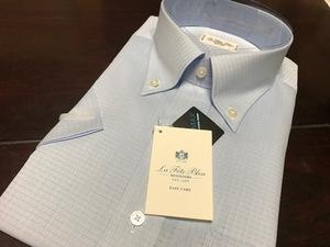 La fete bleu by HITOYOSHI  形態安定 ブルー織柄チェック半袖ワイシャツ L(首41cm) ボタンダウン クールマックス素材使用