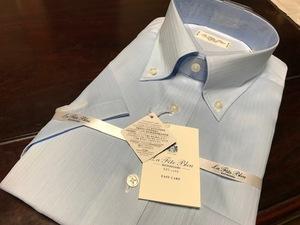 La fete bleu by HITOYOSHI  形態安定 ブルー織柄半袖ワイシャツ L(首41cm) ボタンダウン  クールマックス素材使用
