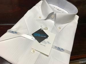 La fete bleu by HITOYOSHI   形態安定 白織柄半袖ワイシャツ L(首41cm) ボタンダウン クールマックス素材使用