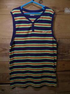 *全国一律送料¥198 ナイキ NIKE 子供キッズ女の子綿100%ボーダー柄スポーツノースリーブタンクトップTシャツ 150