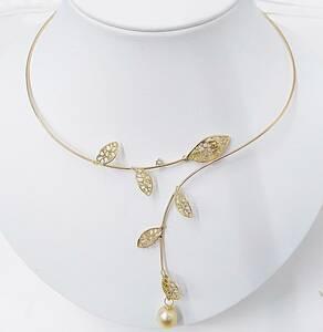[鑑別書付]K18 チョーカー ダイヤ0.05ct シロチョウ養殖真珠 約14.2g