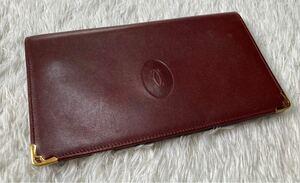 カルティエ マストライン がま口 二つ折り長財布 ボルドー レディース レザー メンズ Cartier