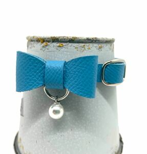 猫首輪 パールリボン 水色 フレンチレザー 本革