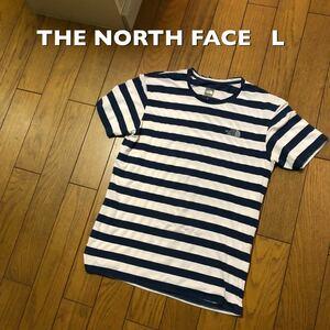 Lサイズ!ザ ノースフェイス 古着半袖ボーダーTシャツ 首ヨレ有り 白×ネイビーブルー the north face 半袖Tシャツ