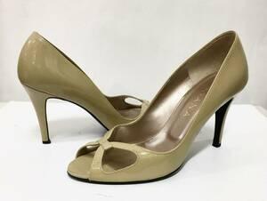 DIANA ダイアナ オープントゥ エナメル ヒール パンプス 24cm ベージュ系 サンダル 靴