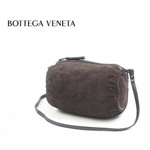 ◆BOTTEGA VENETA/ボッテガ ヴェネタ スエード×レザー 斜め掛け ミニ ショルダー バッグ ダークブラウン×ブラック