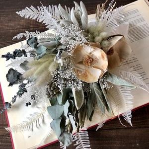 星月猫★「ココフラワーとラムズイヤーのホワイトスワッグ」ドライフラワー ブーケ 花束