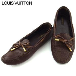 【ラスト1点】 ルイ ヴィトン ローファー シューズ 靴 レディース ♯M37 ドライビング ダミエ柄リボン Louis Vuitton 中古 T19201