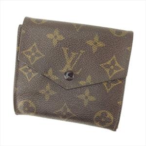 【ラスト1点】 ルイ ヴィトン Wホック 財布 二つ折り ポルトモネビエ(旧タイプ) M61660 モノグラム Louis Vuitton 中古 Q559