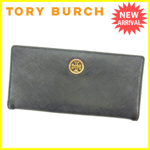 【ラスト1点】 トリバーチ 長財布 ファスナー付き長財布 ロゴプレート Tory Burch 中古 H397