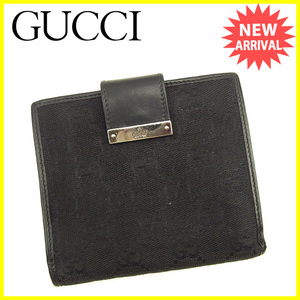 【ラスト1点】 グッチ Wホック財布 二つ折り財布 GGキャンバス Gucci 中古 T1135