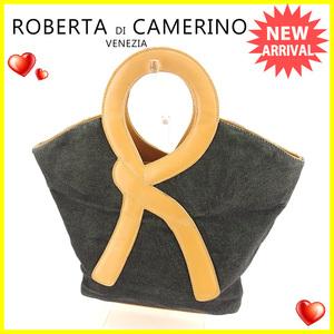 【ラスト1点】 ロベルタディカメリーノ トートバッグ ハンドバッグ Rモチーフ ROBERTA DI CAMERINO 中古 F1140