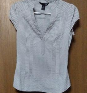 半袖シャツ H&M グレー系ストライプ エイチアンドエム 半袖 送料無料 匿名配送