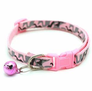 迷彩柄首輪 鈴付き ピンク 猫用 子犬