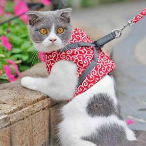 唐草模様ハーネス赤色  猫、小型犬 和柄