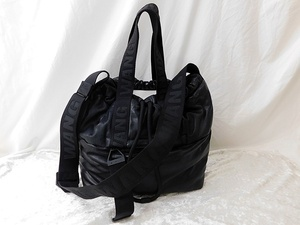 Y♪アレキサンダーワン ALEXANDER WANG × H&M レザー2way巾着バッグ ブラック 中古 良品 ポリエステル 革♪質屋リサイクルマート宇部店♪