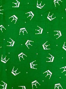 コットン生地★緑カラー★オックス★クラウン柄 はぎれ 生地巾あり