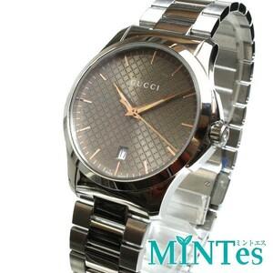 GUCCI グッチ Gタイムレス メンズ 腕時計 クォーツ YA1264053 ブラウン シルバー 未使用品 SS シンプル お洒落 男性 紳士 デイリー 人気