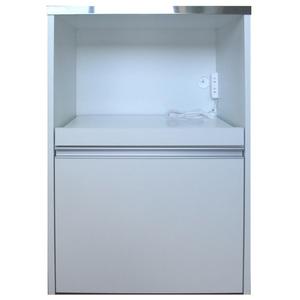 送料無料/製造直販/タクミ ステンレス天板 キッチンカウンター60(家電収納タイプ)/レンジ台/ホワイト/日本製/完成品