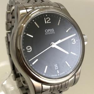 定価15.3万円 美品 ORIS オリス クラシックデイト 自動巻き 腕時計 733 7578 4034M 裏スケ 黒文字盤 メンズ 質屋の質セブン