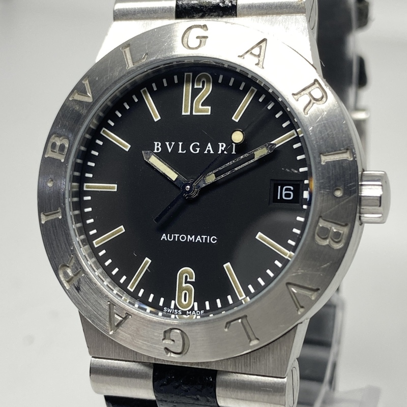 ●最終出品 1円~ ブルガリ Bvlgari ディアゴノスポーツ デイト 黒文字盤 LC35S メンズ 自動巻き 純正ベルト 腕時計 CD1877252