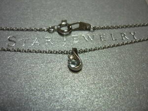スタージュエリー K18WG アクアマリン ダイヤ 雫 ネックレス 18金 ホワイトゴールド ダイア 天然石 値下