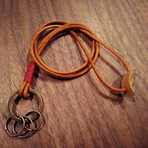 キーホルダー 本革 レザーロープ 鍵っ子 子供 ネッグキーホルダー キーリング キッズ