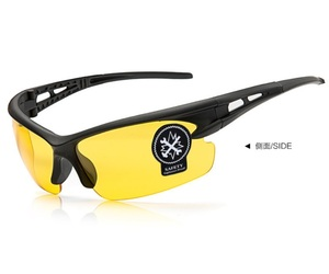 黄色 割れない スポーツサングラス UV400夜視鏡☆サイクリング ランニング アウトドア