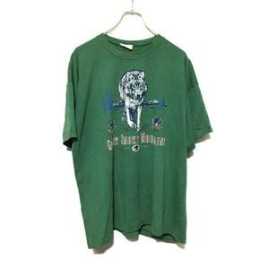 CC402apt【no】80sコットン 緑 狼 デザイン Tシャツ