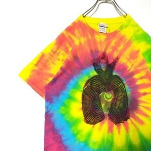 BC499crx【FRUIT OF THE LOOM】コットン マルチカラー デヴィッドボウイ タイダイ Tシャツ 90s