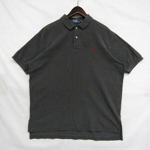 ポロ ラルフローレン ビッグ サイズ XL ポロシャツ 半袖 ワンポイント ロゴ コットン 100 グレー Polo Ralph Lauren 古着 1JU0836