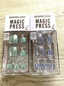 新作ペディキュア2個セット DASHINGDIVA ダッシングディバ マジックプレス フット ネイルチップ ペディ 付け爪 足爪