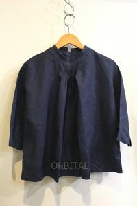 二子玉) lisette リゼッタ バックボタンラミーシャツ 麻100% ネイビー 紺 七分袖 レディース 36 日本製