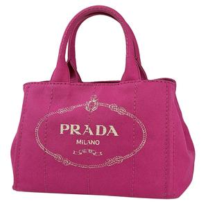 プラダ PRADA カナパ トート ショルダーバッグ 2WAY ハンドバッグ キャンバス フューシャ(ピンク) 1BG439 レディース 【中古】
