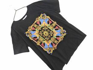 ネコポスOK ZARA TRF ザラ トラファ プリント Tシャツ sizeM/黒 ■◆ ☆ bgb4