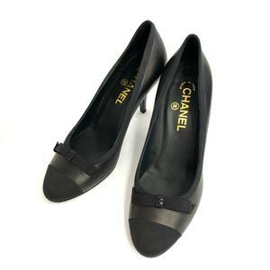 良好◆CHANEL シャネル ココマーク レザーパンプス サイズ37 1/2(24.0cm相当)◆black /黒/ブラック/レディース/シューズ/靴/KI1004