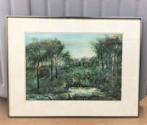 版画? 木版画?『森』風景 自然 湖 沼 額装 サインあり 在銘 サイズ:約73㎝ x 55㎝ A465