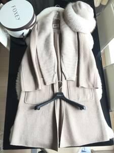 即決 ハンガー付 FOXEY フォクシー 最高峰 フォックスファー付 帽子 カシミヤ100% ロングコート☆38サイズ