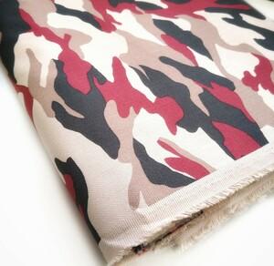 生地 迷彩 綿/ヘリンボーン(杉綾) 赤黒ARMY 生地巾110cm