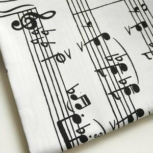 ♪生地 国産 綿 オックス ピアノ♪ 楽譜  レッスンバッグ 五線紙 生地巾114