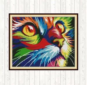 クロスステッチキット カラフルキャット 猫 ねこ ネコ 39×32cm 刺繍