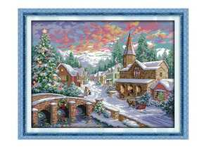 クロスステッチキット クリスマス村 雪景色 14CT 54×43cm 刺繍キット