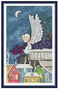 クロスステッチキット 雪降る街に舞い降りた天使 14CT 刺繍キット 冬