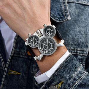メンズ 腕時計 スチームパンク Oulm HP1167W レトロ クオーツ レザーバンド 3タイムゾーン