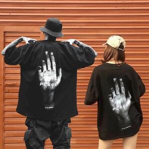Tシャツ トップス 半袖 ビッグシルエット 黒 ブラック メンズ レディース 原宿系 ストリート 韓国系 プリント シャツ