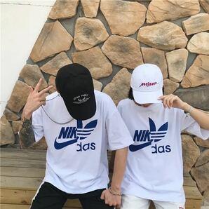 Tシャツ トップス 半袖 シャツ レディース メンズ 原宿系 ストリート 韓国系 白 ホワイト 黒 ブラック