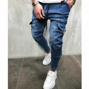 ジョガーパンツ ポケット付き デニム テーパードパンツ ボトムス スキニーパンツ ジーンズ ストレッチ M L XL ブルー 青
