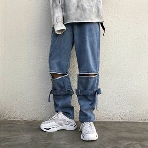 デニム ワイドパンツ ストリート ジップ ワイドデニム ジーンズ ストレートパンツ 青 ブルー インディゴ M L XL メンズ